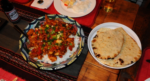 The curry with naan