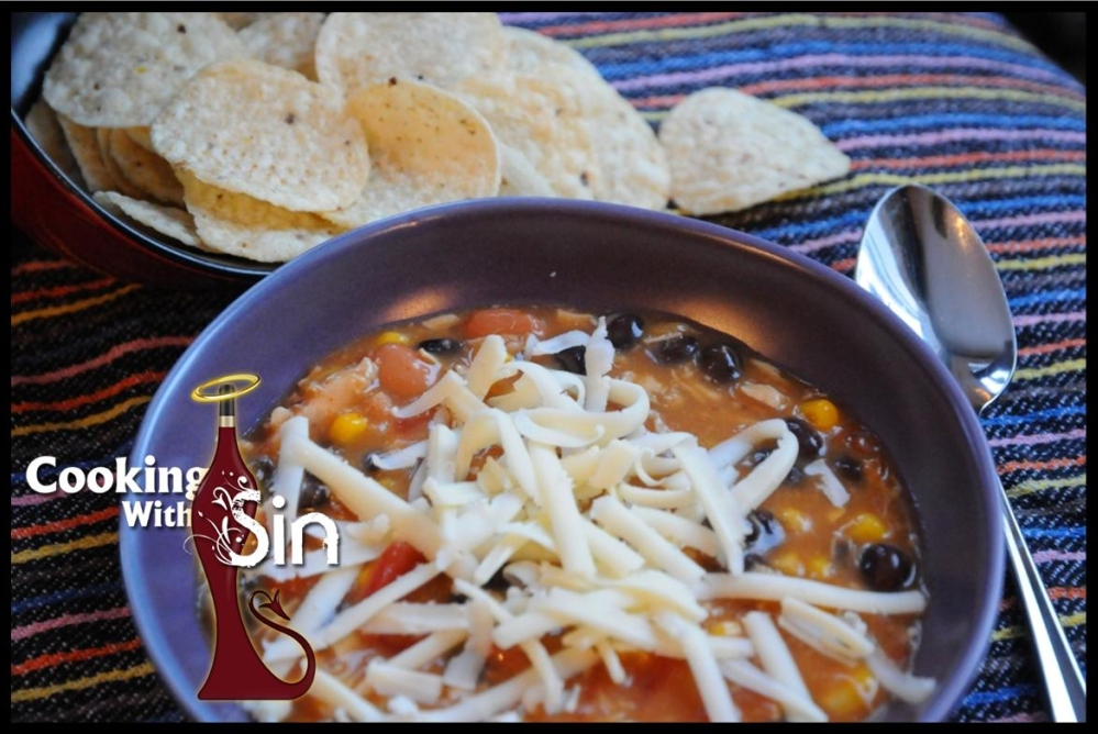 Cooking with Sin 8 Can Taco Soup serving