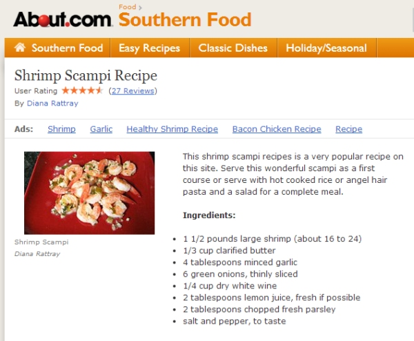 Recipe from About.com Shrimp Scampi