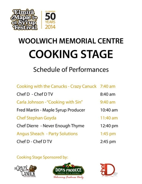 Elmira Maple Syrup Festival 2014 Cooking Stage schedule