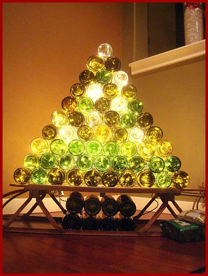 wine bottle christmas tree